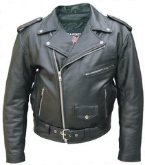 Men's TALL Basic OLD SCHOOL Leather Motorcycle Jacket
