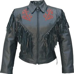 AL2105 Womens Red Rose Motorcycle Jacket