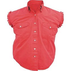 AL2926-Ladies Red Denim Sleeveless Shirt