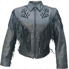 AL2106-Ladies Black Rose Motorcycle Jacket