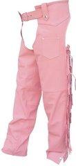AL2422 Ladies Pink Fringed Motorcycle Chaps