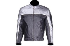 Mens Black and Silver Racer Style Motorcycle Jacket