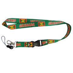 "GRENADA COUNTRY FLAG LANYARD KEYCHAIN PASSHOLDER NECKSTRAP .. CLASP AT THE END .. 20"" INCHES LONG .. HIGH QUALITY .. NEW AND IN A PACKAGE"