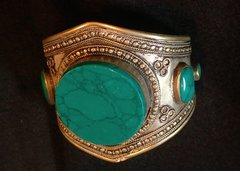 Tribal Teal Lapis Large Cuff