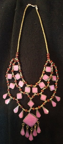 Tribal Pink Lapis Necklace Squares Diamonds w/Square Center