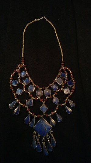 Tribal Blue Lapis Necklace Square Diamond w/Square Center Lapis and tear drops