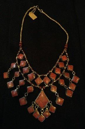 Tribal Lapis Necklace squares w/Diamond shape Center