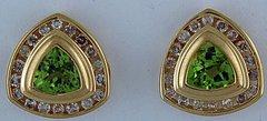 Ladies 1/2ctdw Diamond and Peridot Earrings