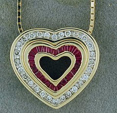 1/2ctgw Ruby and Diamond Heart Pendant on a Box-Link Chain
