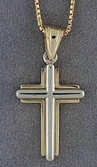 Two-Tone Cross on a Box-Link Chain