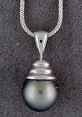 Black Pearl Pendant on a Chain