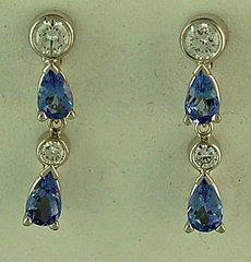 1ctgw Diamond and Tanzanite Dangle Earrings