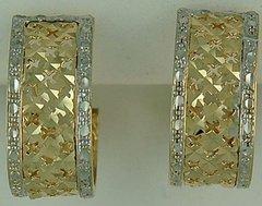 Ladies Diamond Cut Filigree Hoop Earrings