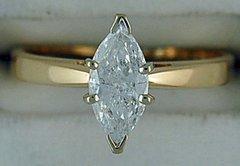 Ladies 3/4ct Marquise Diamond Solitaire Ring