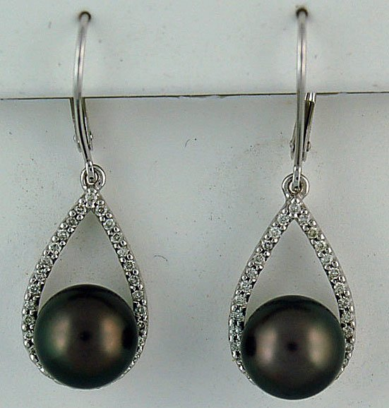 1 2ctdw black pearl and diamond earrings brooks pawn and
