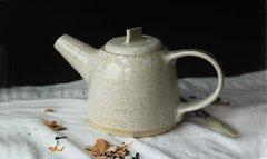 HANDMADE White glazed stoneware ceramic teapot - Homestead Series.