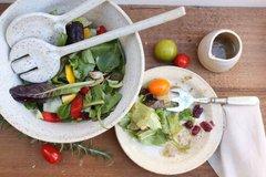 HANDMADE White glazed exterior stoneware ceramic salad serving bowl and serving set