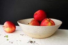 HANDMADE White glazed stoneware ceramic serving bowl