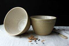 2 HANDMADE white stoneware cereal/soup ceramic bowl - Homestead series.