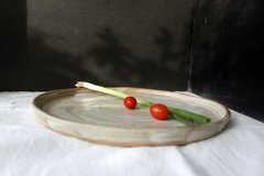 2 HANDMADE glazed stoneware ceramic dinner plates - Sugared Toffee series.