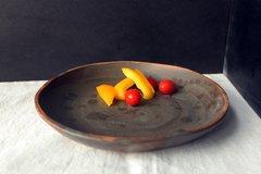 2 HANDMADE Charcoal glazed stoneware ceramic pasta/salad plates - Smokey series.