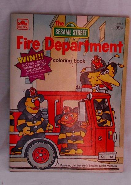 1984 Sesame Street Fire Department Coloring Book Vintage
