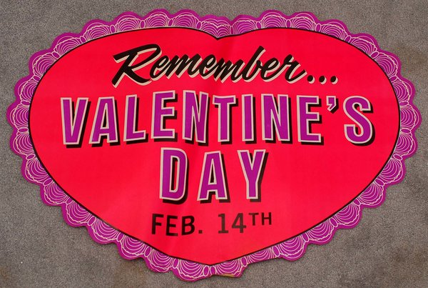 1960s Remember Valentine\'s Day Large Heart Shaped Store Display ...