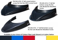"Five Star MD3 Hood Scoop - 3"" Tall - Flat Bottom - Carbon Fiber Look"