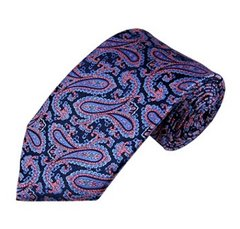 PSY-16 | Steel Blue and Pink on Navy Floral Paisley Woven Necktie