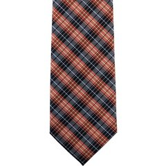 P-013 | Orange and Navy Blue Tartan Plaid Woven Necktie