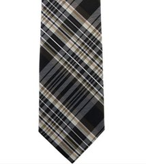 P-012 | Brown, Beige and Black Multi-Shade Tartan Plaid Woven Necktie