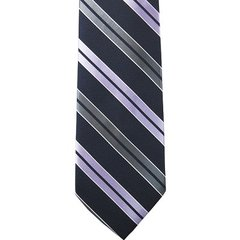 P-019 | Lavender, Silver and Navy Blue Dual Stripe Woven Necktie