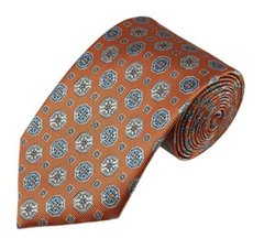 PT-02 | Light Steel Blue / Beige on Bronze Orange Talisman Pattern Woven Necktie