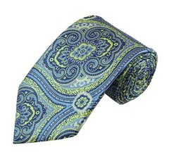 PSY-26 | Lime Green and Steel Blue Woven Paisley Necktie