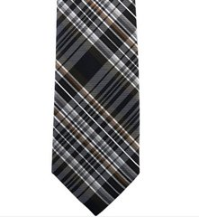 P-0125 | Brown, Silver and Navy Blue Multi-Shade Tartan Plaid Woven Necktie