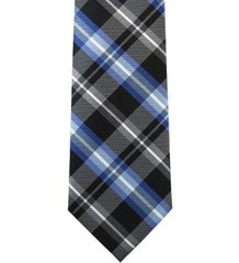P-037 | Royal Blue, Light Blue and Black Classic Flannel Plaid Woven Necktie