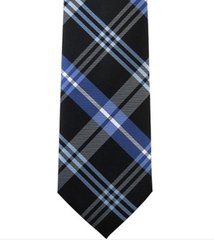 P-016 | Royal Blue, Steel Blue and Black Striped Plaid Woven Necktie
