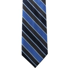 P-023 | NAVY AND PEACOCK BLUE TWO TONE STRIPED WOVEN NECKTIE