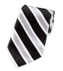 P-095 | Black, Silver and White Wide Striped Woven Necktie