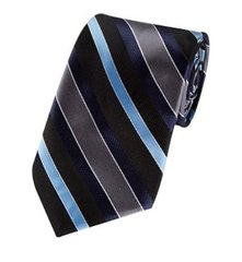 P-096 | Navy, Steel Blue, Black and Charcoal Multi Striped Woven Necktie