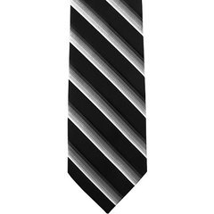 P-022 | Silver, Charcoal Gray, and Black Gradient Striped Woven Necktie