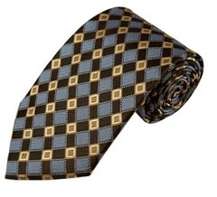 PT-021 | Honey Gold / Brown and Periwinkle Cross Check Woven Necktie