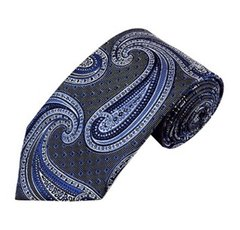 PSY-18 | Royal Blue and Silver Big Floral Paisley Woven Necktie
