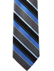 P-024 | Peacock Blue and Black Wide Striped Woven Necktie
