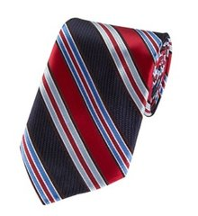 P-094 | Red and Multi Blue Striped Woven Necktie