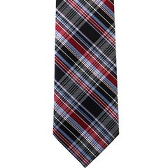 P-015 | Red, Burgundy, and Steel Blue Scottish Plaid Woven Necktie
