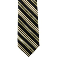 P-027 | HONEY GOLD AND BLACK MULTI-STRIPED WOVEN NECKTIE