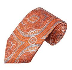 PSY-28 | Tangerine and Sky Blue Woven Paisley Necktie