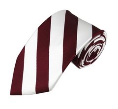 C-21 | Burgundy and White College Stripe Woven Tie