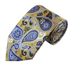 PSY-22 | Steel Blue on Antique Gold Woven Paisley Necktie